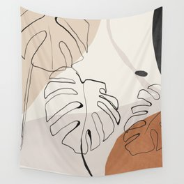Minimal Abstract Art- Monstera Wall Tapestry