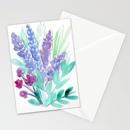 Lavender Floral Watercolor Bouquet Stationery Cards