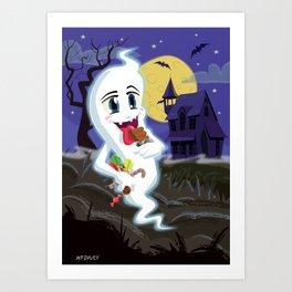 Manga Sweet Ghost at Halloween Art Print