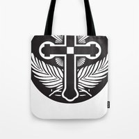 religious Tote Bags featuring Black And White Cross Religious Symbol by ArtOnWear