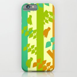 Birds and tree trunks iPhone Case