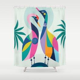 Rainbow Geese Shower Curtain