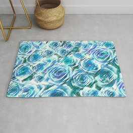 Textured Roses Blue Amanya Design Rug