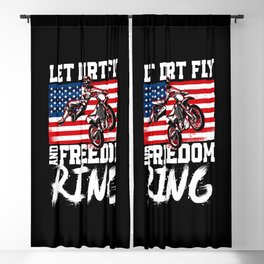 Dirt Bike Motocross Let Dirt Fly And Freedom Ring Vintage American Flag 4Th Of Blackout Curtain