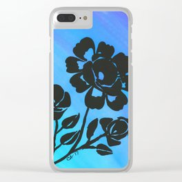 Rose Silhouette with Painted Blue Background Clear iPhone Case