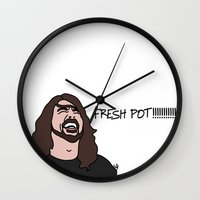 dave grohl Wall Clocks featuring Dave Grohl Fresh Pots by Highly Anticipated