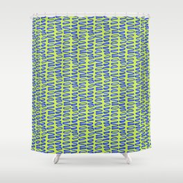 Green and Blue Squiggle Pattern Shower Curtain