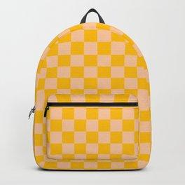 Deep Peach Orange and Amber Orange Checkerboard Backpack