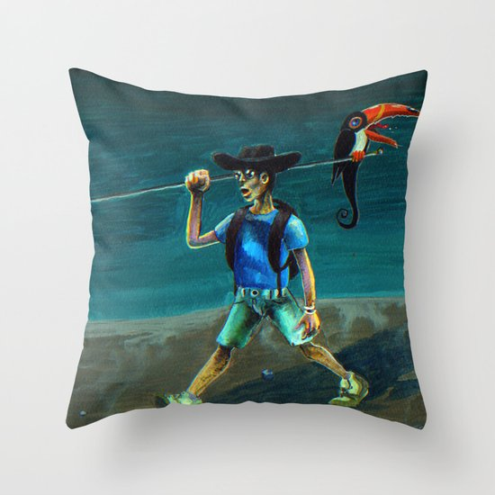 Walking with my Tucan. Throw Pillow