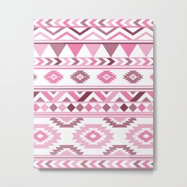 Modern Tribal Aztec – Mulberry Pink and Plum Violet Metal Print