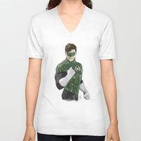 green lantern V-neck T-shirts featuring Green Lantern by Alex Heuchert