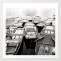 Boats in Vietnam Black and White Fine Art Print  • Travel Photography • Wall Art by sidecarphoto