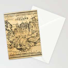 Old Map of Iceland Stationery Cards