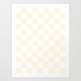 Checkered - White and Cornsilk Yellow Art Print
