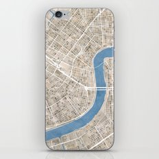 New Orleans Cobblestone Watercolor Map iPhone & iPod Skin