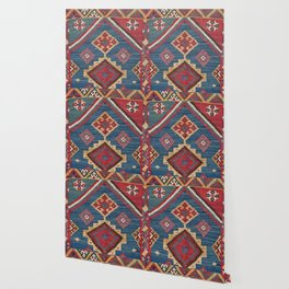 Vintage Woven Kilim // 19th Century Colorful Royal Blue Yellow Authentic Classic Ornate Accent Patte Wallpaper