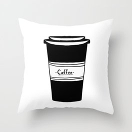 Black and white coffee Throw Pillow