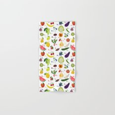 English fruit and vegetables alphabet Hand & Bath Towel