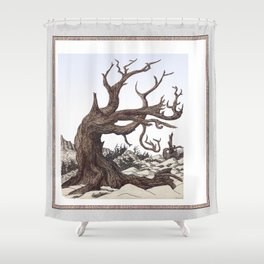 ANCIENT PINE SNAG VINTAGE PEN DRAWING Shower Curtain