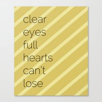 friday night lights Canvas Prints featuring Clear Eyes, Full Hearts, Can't Lose-Friday Night Lights  v2.0 by MisfitIsle