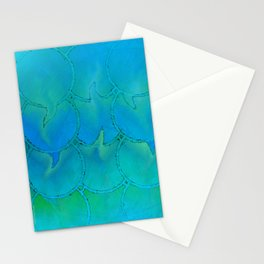 Mermaid Scales Blue Green Light 2 Stationery Cards