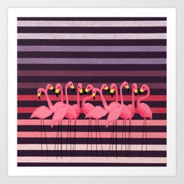 FUN STRIPES WITH FLAMINGOS Art Print