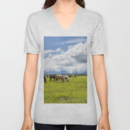 Two of My Favorite Things - Horses and The Grand Tetons Unisex V-Neck