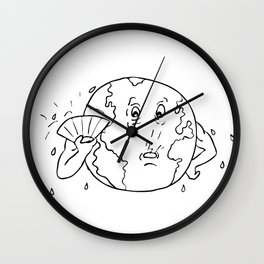 Earth Global Warming Drawing Black and White Wall Clock