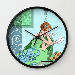 CLARICE: Art Deco Lady - Girly Greens Wall Clock