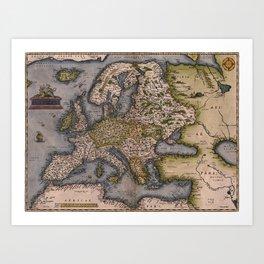 Europe Map 1572 Art Print