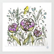 Flowers by Doodling - © Lucinda Wei Art Print