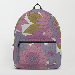 Pink & Purple Retro Floral Pattern Backpack