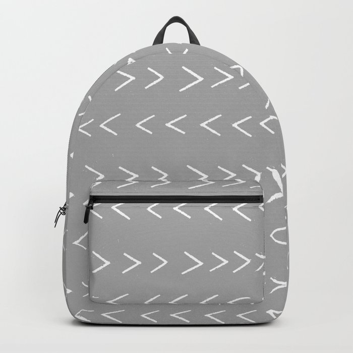 linocut Mudcloth grey and white minimal modern chevron arrows pattern gifts dorm college decor Backpack