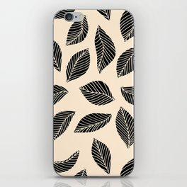 Falling Leaves in black and ivory iPhone Skin