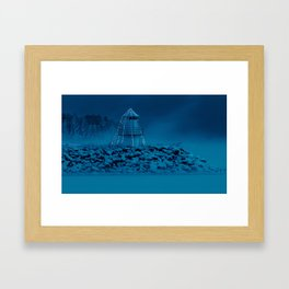 Pier and lighthouse Framed Art Print