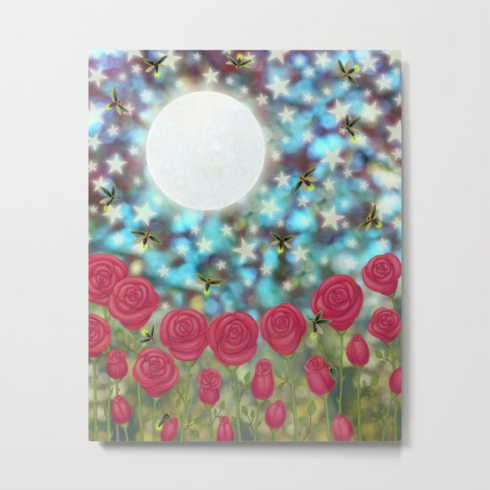 the moon, stars, fireflies, & roses Metal Print