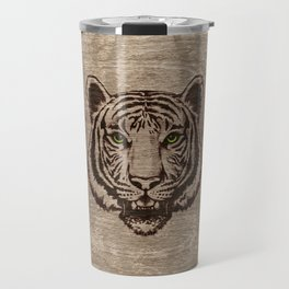 Tiger  pyrograph on wood Travel Mug