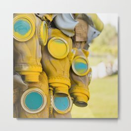 Yellow gas mask Metal Print