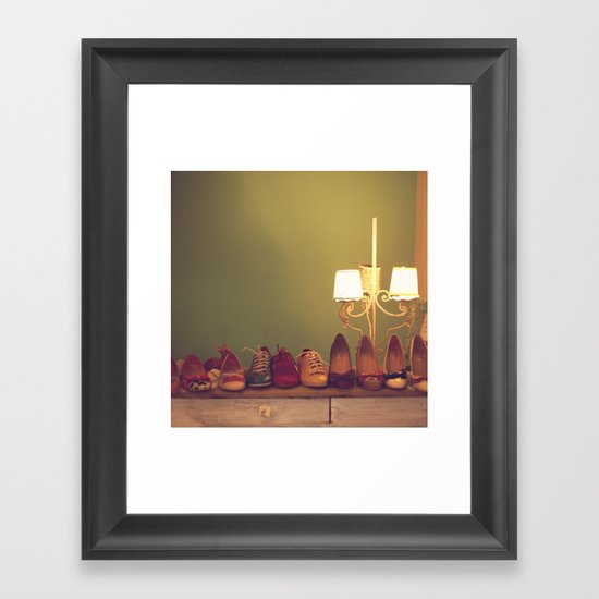 Dancing Shoes and Heels (retro and vintage girly shoes and heels with a lovely lamp) Framed Art Print