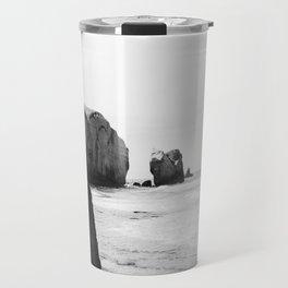Black and White Dunedin beach - New Zealand Travel Mug