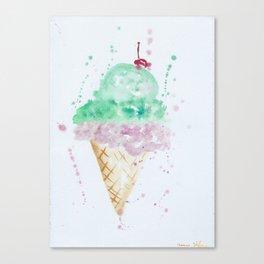 Icecream Summer love Cherry illustration ice cream cone watercolor Canvas Print