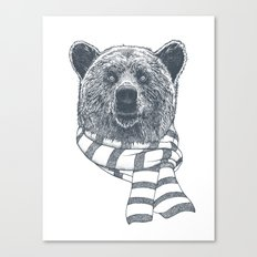 Winter Bear Drawing Canvas Print