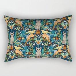Peterbald cat damask midnight Rectangular Pillow