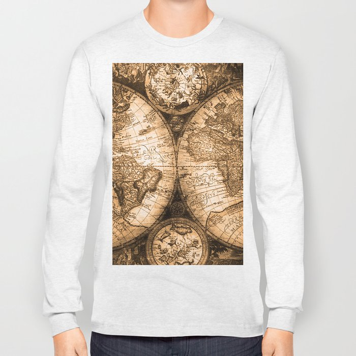 World Map Antique Vintage Maps Long Sleeve T Shirt By Naturemagick