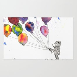 bear holding balloons watercolor and ink painting Rug