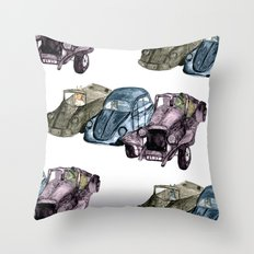 Animals in cars Throw Pillow