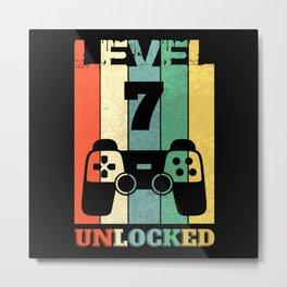 Level 7 Years Boy Man 7th Birthday Metal Print