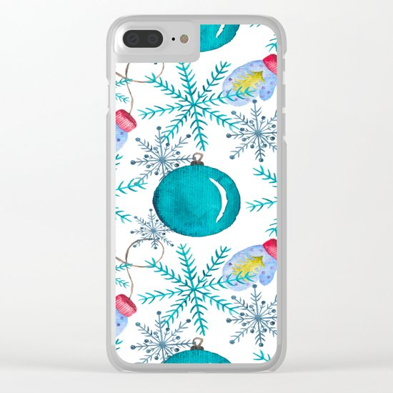 Blue Snowflakes #3 Clear iPhone Case