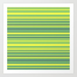 Yellow Lime Candy Lines Art Print