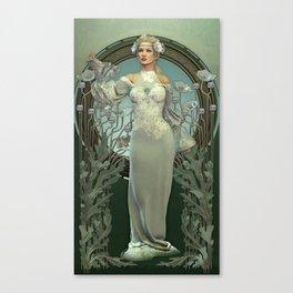 Art Nouveau White Lady Canvas Print